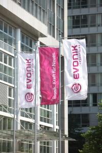 Evonik,Fahnen, vor der Zentrale in Essen, im Juli 2008, Flagge,